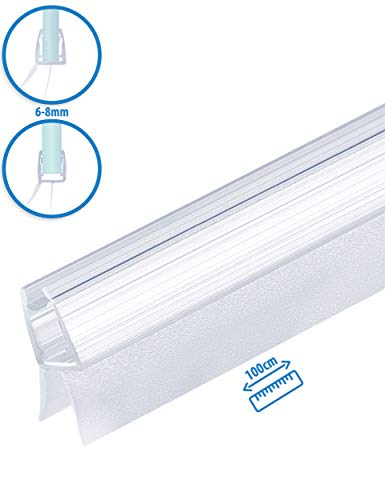 MAALIMA - Premium Dichtung universal | Duschdichtung für 6mm, 7mm, 8mm Glasdicke | 100cm lange Gummilippe | Duschleiste mit Wasserabweiser an der Dichtung (1x 100 cm)