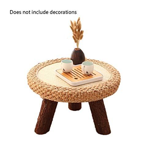 LF Stores-Coffee Tables Mirador Mesa de Mimbre pequeño café Redonda Hecha a Mano Japonesa Tabla Tatami Adecuado for Balcón Mesa Baja 19.68 * 11.8 pulg (Color : Brown, tamaño : 19.68 * 11.8in)