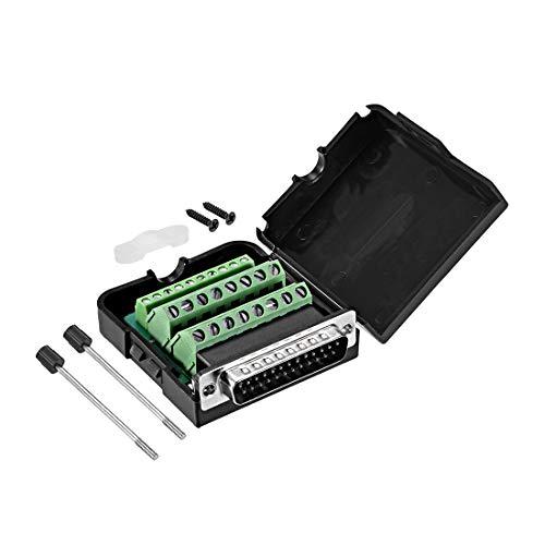 Sourcing Map D-sub DB25 Breakout-Board-Stecker mit Hülle, 25-polig, 2-reihiger Stecker, lötfreier Terminalblock-Adapter mit Rändelschrauben