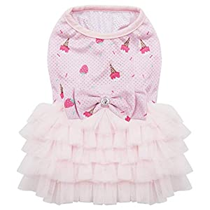 kyeese Dog Dresses with Bowtie Spring Summer Breathable Mesh Dog Dress for Medium Dogs