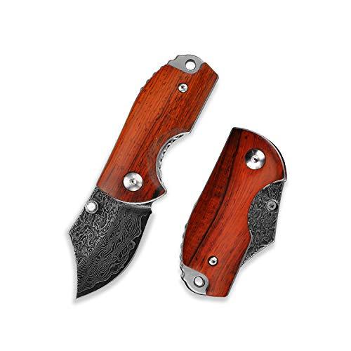 KUBEY DM143-1 Damast Taschenmesser - Holzgriff Mini Klappmesser aus Damaststahlklinge - Eindhand Klein Messer - Outdoor & Camping Messer Ideal für Wandern Jagd und DIY Arbeit