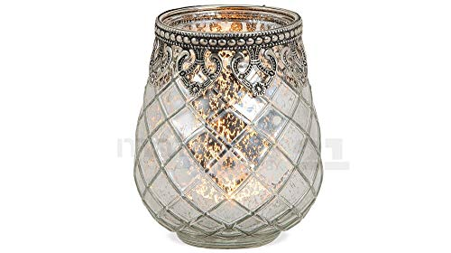 matches21 Windlicht Teelichtglas Kerzenglas Orientalisch Silber antik Glas/Metall Vintage - 3 Größen zur Auswahl – 10 cm