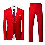 Trajes para hombre de 3 piezas de ajuste delgado, trajes de cena formales para hombres, chaqueta de esmoquin de 2 botones, chaqueta de negocios, fiesta, chaleco y pantalones, rosso, XXXXXXL
