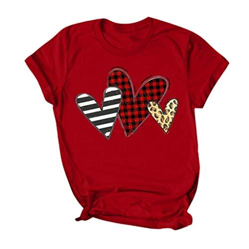 serliyDamen Valentine's Day Tee Mode Herz Print Tops Festliches Kurzarm T-Shirt Party Shirts Frauen...