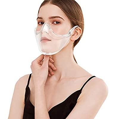 Transparent_Face_Mask, Upgraded Breathable, All Clear, Visible Reusable Bandanas Face_Shield Visible Expression Face_Mask for Adults Also for Deaf and Hard of Hearing