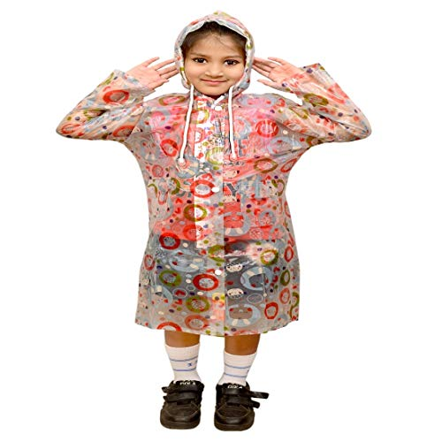 BRATS N BEAUTY- Unisex Kids Cartoon Printed Raincoat Cream Color with School Bag fit for 7-8 Year boy I Girl