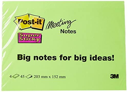 """Post-it """"Super Sticky Meeting Notes"""" extragroße Haftnotizen für kreativen Freiraum in 203 x 152 mm – 4 Notizblöcke à 45 Blatt in Neon Grün & Orange, Ultra Pink & Gelb"""