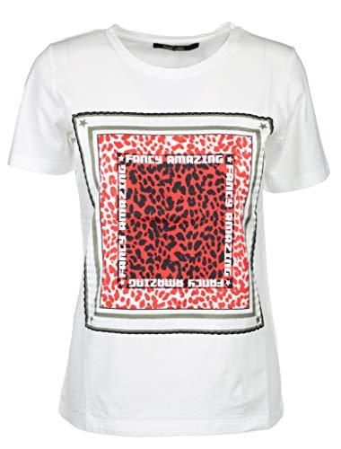 Marc Aurel Kurzarm T-Shirt Rundhals Leo-Brust Print Baumwolle weiß Größe 36