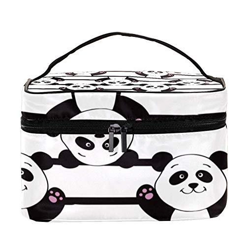 ANINILY Mignon Panda sur fond blanc Multifonction Organiseur de toilette portable pour femmes Voyage Sacs cosmétiques avec poche en filet