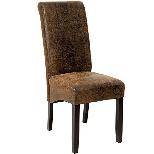 TecTake Edler Esszimmerstuhl aus Kunstleder | Stuhl mit hoher Rückenlehne | qualitativ hochwertig | Stuhlbeine aus Hartholz massiv | 106 cm hoch - diverse Farben - (Antikleder Braun | Nr. 401484)