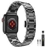 PUGO TOP Armband für Apple Watch Series 4 3 2 1, Edelstahl mit Metallschließe, Ultra-dünne Serie...