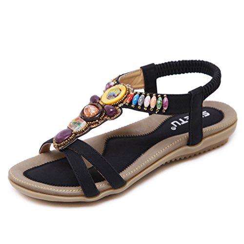 ZOEREA Sandalias Mujer Cuero Zapatos Planos PU Bohemia