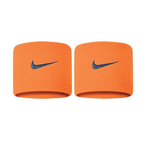 Nike Coppia di Polsini da Tennis Swoosh Wristbands Wimbledon Indian Wells Roland Garros (Alpha Orange/Thunderstorm)
