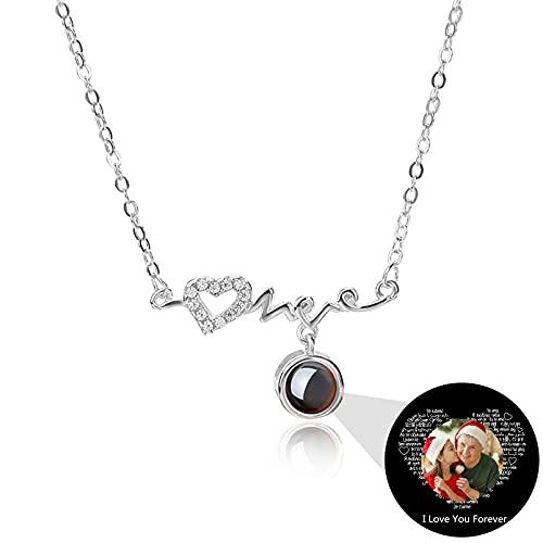 Collar de Promesa Te Amo en 100 Idiomas Collar con Foto Personalizada Collar de Proyección Ecg Personalizado para Mamá(De color plateado 16)