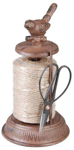 Esschert Design Garnspender, Schnurrhalter aus Gusseisen mit Schere, ca. 12 cm x 12 cm x 23 cm