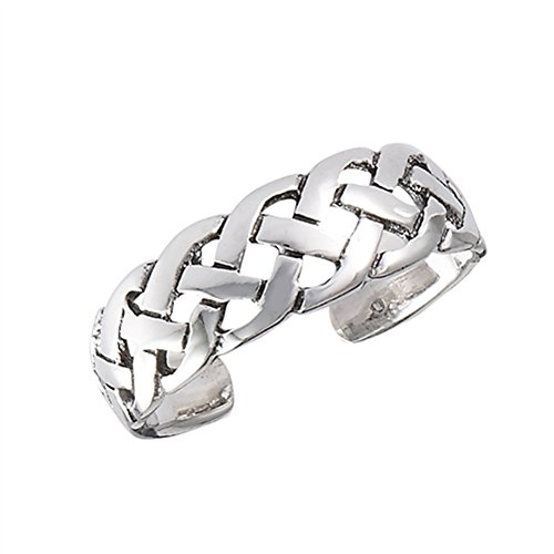 Celtic Weave Intricate .925 Sterling Silver Braid Midi Weave Toe Ring Band