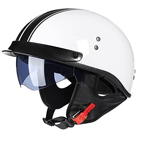 HSFJFDRT Hombres y Mujeres Adultos Cuatro Estaciones Medio Casco de Motocicleta Casco de ciclomotor Jet de Cara Abierta Medio Casco con Visera Solar y Gafas de protección UV Dot Certificazione