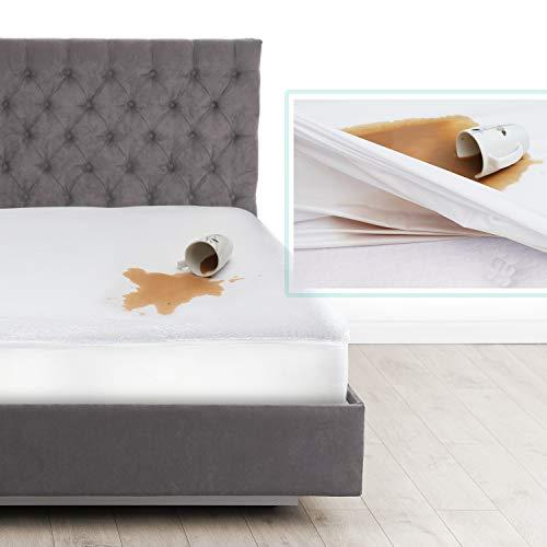 Nestl Bedding Protector de Colchón Alto de Tela de Rizo, Cubre Colchón Hipoalergénico Individual, Protector de Colchón a Prueba de Agua, Blanco