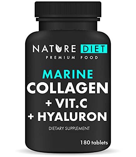 Nature Diet - Colágeno marino con ácido hialurónico y vitamina C, 180 pastillas, 500 mg