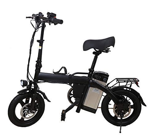 DIDIY Bicicleta eléctrica de aleación de aluminio 48 V 350 W, 12 AH14 pulgadas, batería de litio para adulto, el cuerpo se puede plegar con la asistencia del pedal.
