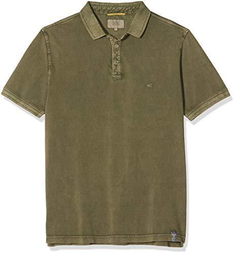 camel active Herren H-Polos 1/2 Arm Poloshirt, Grün (Olive Los 75), Large (Herstellergröße: L)