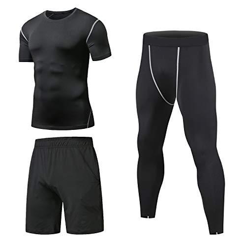 Niksa Sportbekleidung Herren Fitness Bekleidung Trainingsanzug 3pcs Set Fit elastische Sportwear Fitness Anzug Set Gym Yoga Kompressionsshirt Sporthose Leggings (L (Asien Size), Kurzarm(Neu-163515))