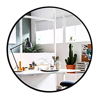 Elevens Wall Mirror - Round Wall Mounted Decorative Mirror - Metal Frame, Best for Vanity Washrooms Bathroom and Living Rooms