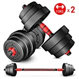 10KG X 2 Dumbbell Set with Adjustable Weights - Weight Set for Weightlifting and Body Building Hex...