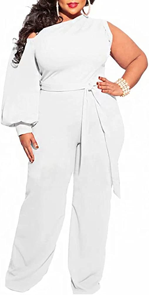 Import Fastkoala Plus Size Jumpsuits for Sleeve Women Shoulder One At the price of surprise Long