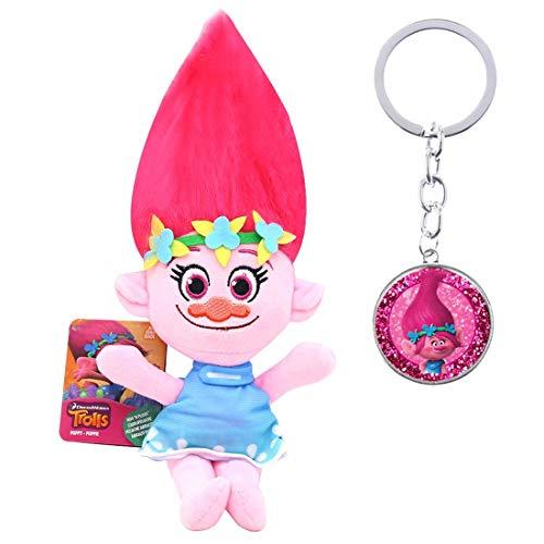 Poppy Trolls Pluche Figuren Speelgoed, Trolls Poppen met Gedrukt Haar, Trolls World Tour Verzamelpoppen Eén maat Roze-3