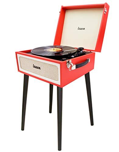 LAUSON YT078 Plattenspieler mit Lautsprecher Retro | Schallplattenspieler Retro-Look | Bluetooth USB | Vinyl Record Player und Digital Encoder | 33/45/78 U/min | Kopfhörer-Anschlu (Rot)