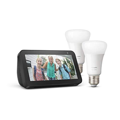 Echo Show 5, Nero + Lampadine intelligenti a LED Philips Hue White, confezione da 2 lampadine, compatibili con Bluetooth e Zigbee (non è necessario un hub)