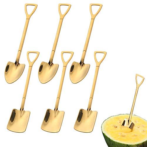 6 cucharas de pala de acero inoxidable, cuchara roja de pala creativa en forma de pala, cuchara de sandía, leche, té, café, azúcar, cuchara, helado, postre, cuchara (dorado)