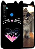 Aarnik Exclusive Heart Glitter Love Cat Back Case Cover for Realme 5/5i/5s/5c