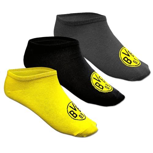 Borussia Dortm&, BVB-Sneaker-Socken (3er-Set), schwarz, gelb, grau, 39-42