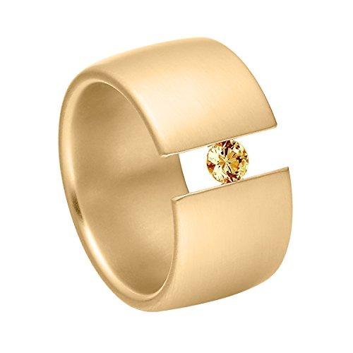Heideman Ring Damen Elegantia breit aus Edelstahl Gold farbend matt Damenring für Frauen mit Swarovski Stein Zirkonia braun im Brillant Schliff 4mm