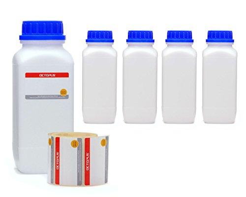 Octopus 5X 1000 ml Weithalsflaschen mit Schraubverschluß, Chemiekalienflaschen, Laborflaschen mit Deckel als Aufbewahrungsbehälter für Labor, Küche oder Hobby