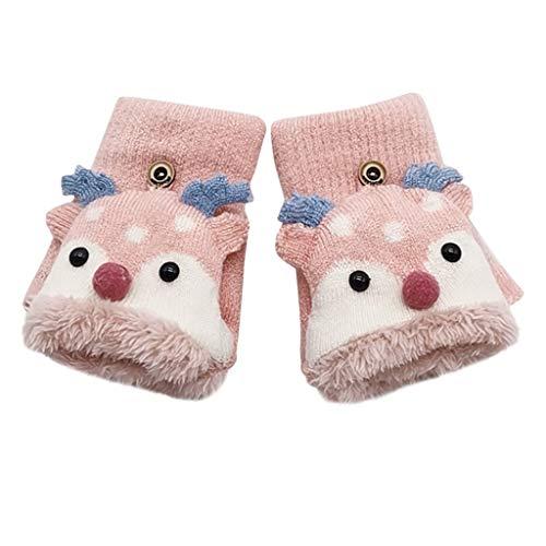 Feytuo Handschuhe Kinder Winter Halbfinger niedlichen Geweih Flip Handschuhe Winterhandschuhe Warm