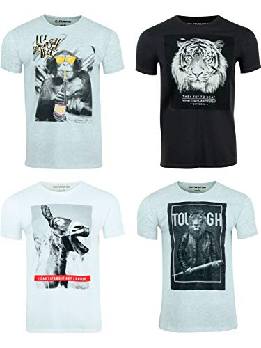 riverso RIVLukas męski T-shirt z nadrukiem, 4 sztuki, okrągły dekolt, krótki rękaw, koszulka regularna bawełna, nadruk zwierzęcy S - 5XL