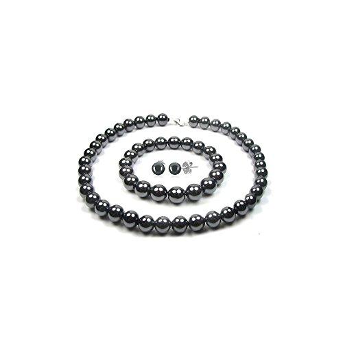 Blue Pearls–Negro hematita perlas collar, pulsera y pendientes Set BPS 0917Y