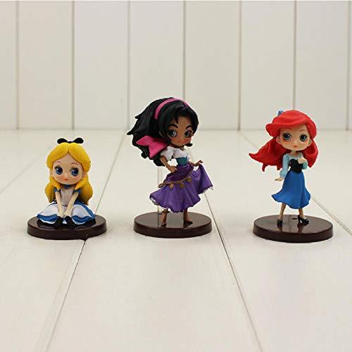 Modelo De Anime3 Unids/Lote Q Posket Princesa La Sirenita Ariel El Jorobado De Notre Dame Esmeralda PVC Figura Juguetes 9 Cm
