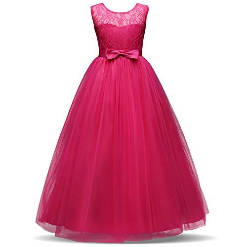 TTYAOVO Vestido de Fiesta de Boda Bordado con Gasa para niños Tamaño 8-9 años Rosas