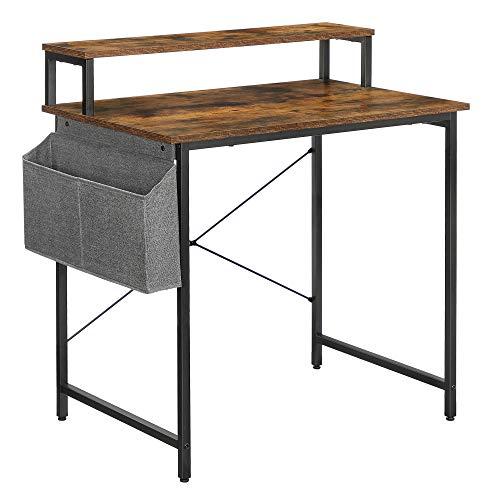 VASAGLE Schreibtisch, Computertisch mit Monitorständer, Aufbewahrungstasche, verstellbare Füße, Industrie-Design, 80 x 55 x 90 cm, für Homeoffice, vintagebraun-schwarz LWD080B01