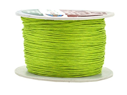 Yellow Green Waxed Cotton Cord 1mm 109 Yards Jewelry Making Beading Crafting Macramé Thread; by Mandala Crafts