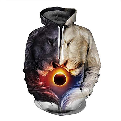 XYL HOME Hooded trui, mannen en vrouwen realistische 3D printen dubbele leeuw voedsel dag pullover hooded sweatshirt hoodie grote zak