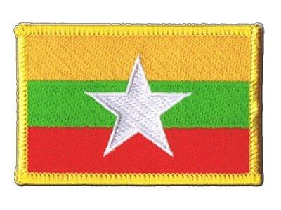 Flaggenfritze Flaggen Aufnäher Myanmar neu Fahne Patch + gratis Aufkleber