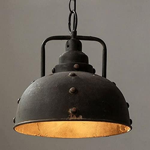 NAMFHZW Lámpara colgante de techo industrial envejecida Lámpara colgante con acabado de metal antiguo negro E27 1 luz Lámpara colgante semi empotrada Conjunto ajustable en altura Luminaria Bar Café Co