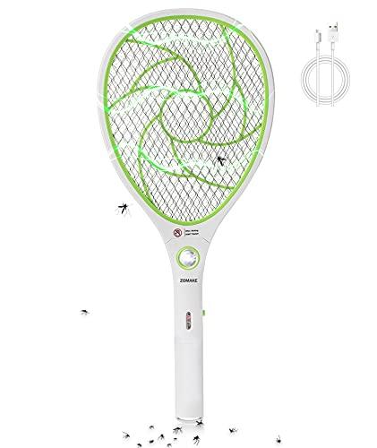 ZOMAKE Elektrische Fliegenklatsche Fliegenfänger Insekten,Extra Stark Moskito und Fliegen Killer, USB wiederaufladbar, LED-Beleuchtung,Elektro Wespen Killer,Grün