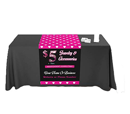 Tremendous designs Table Runner Hearts Pattern Jewelry Consultant Customize with Your Name 2  X 6  Customize Online Bling Jewelry Signs