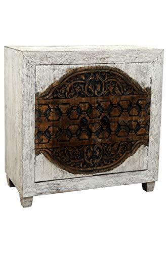Orientalische Kommode Sideboard Aswa 90cm Shabby Weiß | Orient Vintage Kommodenschrank orientalisch Handverziert | Indische Landhaus Anrichte aus Holz | Asiatische Möbel aus Indien